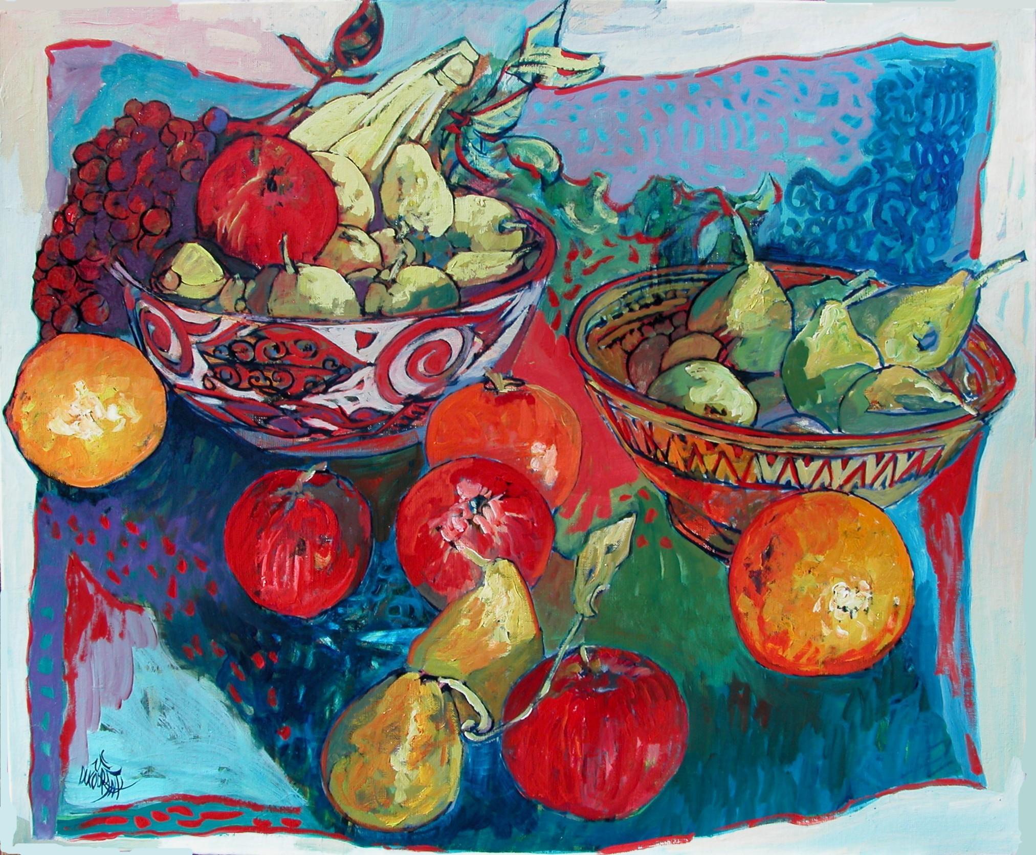 Des fruits, des jus, de la peinture - 73x60cm - 2012