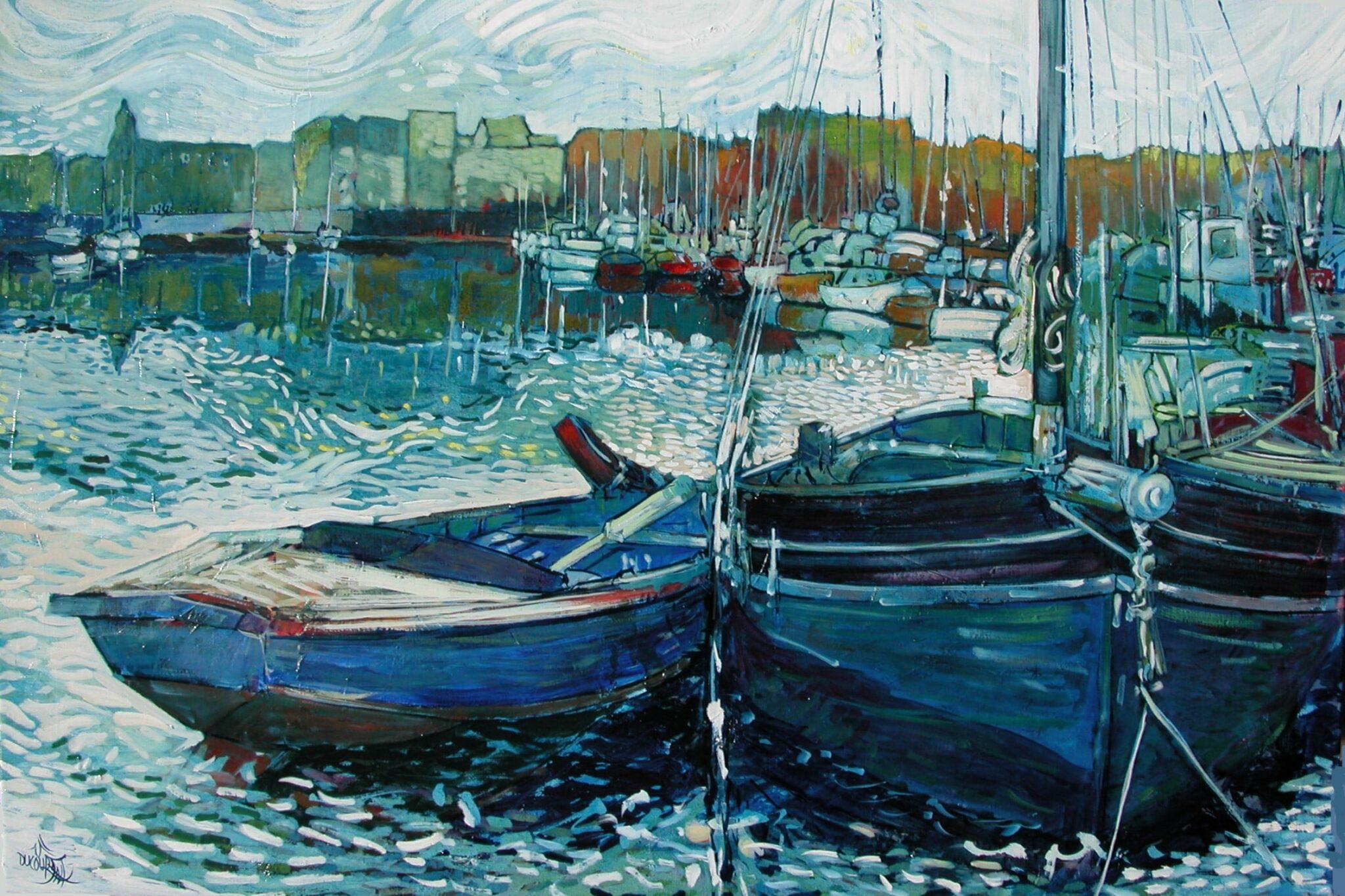 A Concarneau, les barques aussi font réveillon - 81x54cm