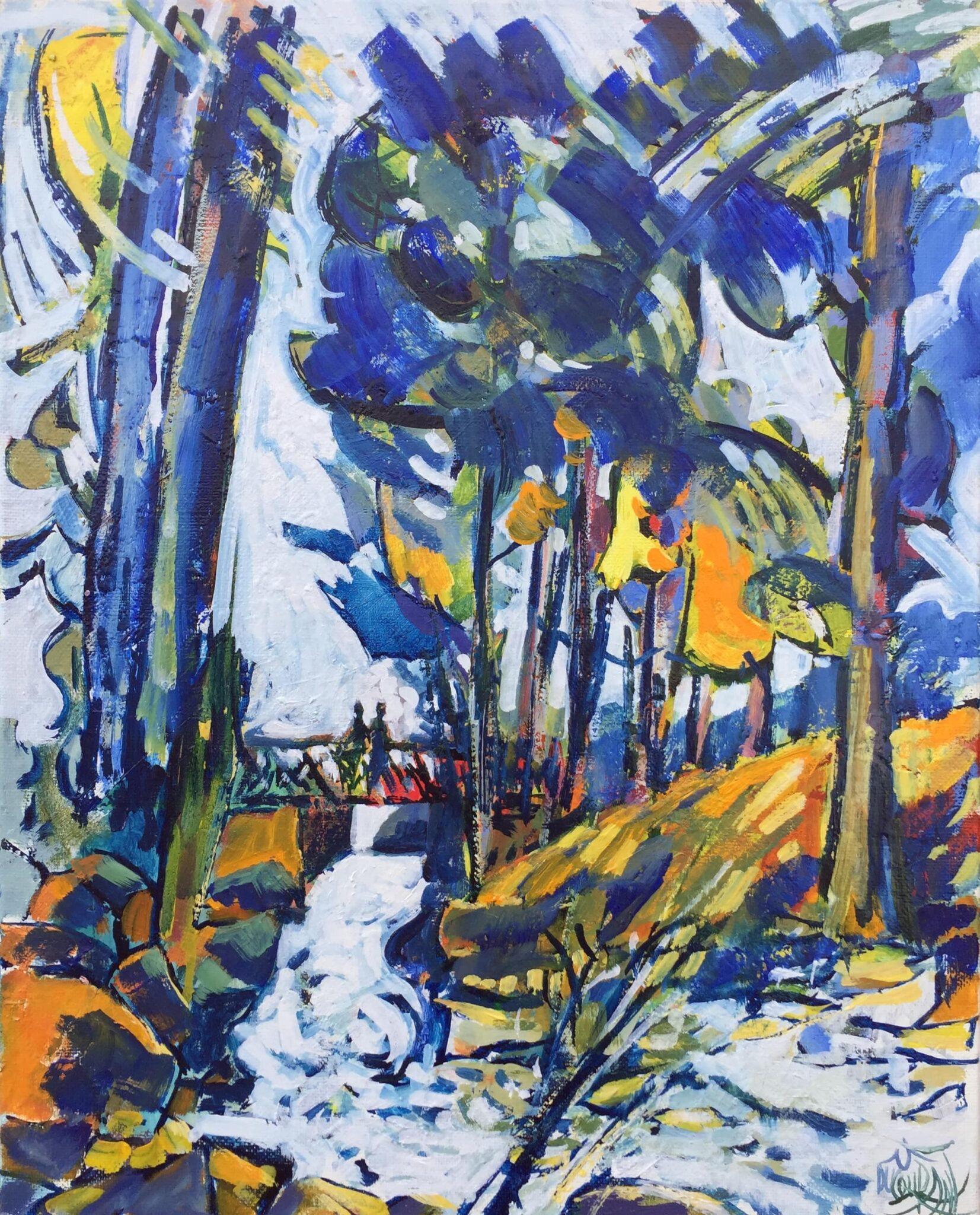 Symphonie d'Aven et de bleus au Bois d'Amour - 41x33cm